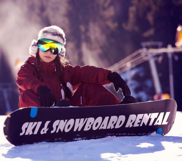 Advertising for your rental ski equipment, winter resort 2017 2018