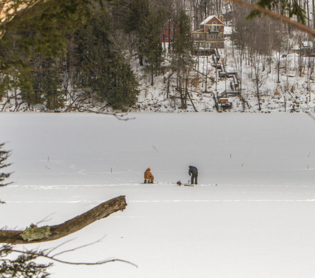 Ice fisherman on Echo Lake